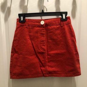 Red Denim Mini Skirt